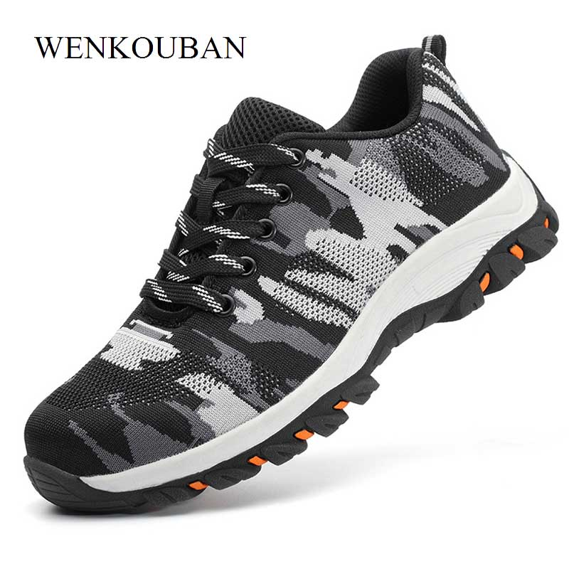 Camouflage Steel Shoes Men Work Boots