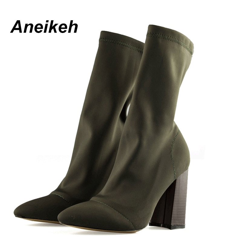 Elastic Ankle Boots High Heels Shoes