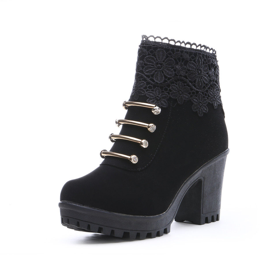 Fashion Women Boots PU Leather Ankle Boots