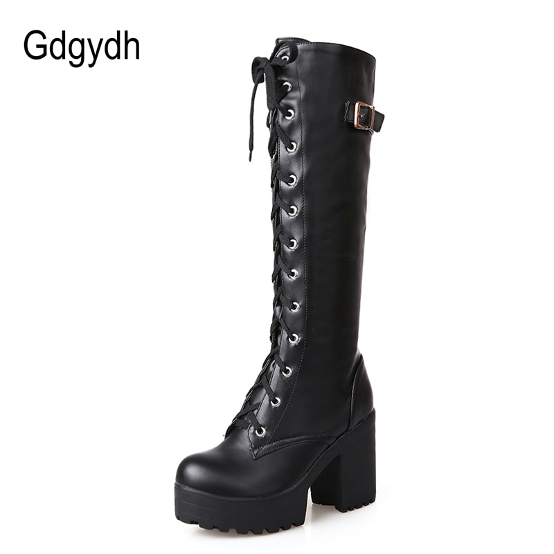Knee High Boots Leather Shoes