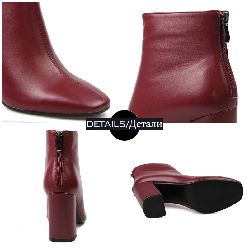 Leather Ankle Boots Feminine Shoes