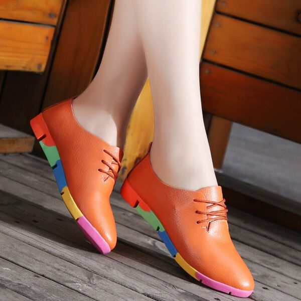 Leather Flats Shoes Woman Sneakers
