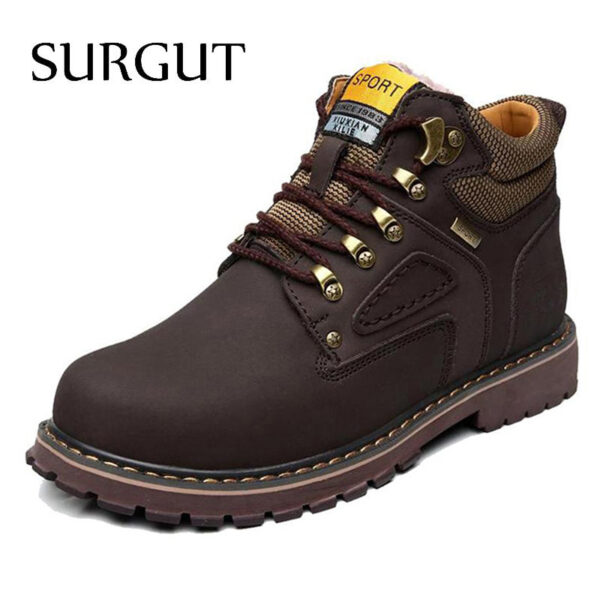 Leather Men Waterproof Rubber Snow Boots