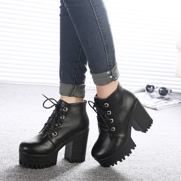 Women Shoes Black High Heels Boots